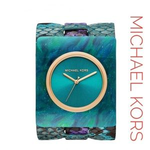 Michael Kors Willa Teal Purple Leather Cuff Watch